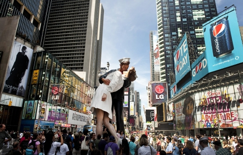 Times Square Unconditional Surrender sculpture at the site of the historic LIFE Magazine cover photograph by photographer Alfred Eisenstaedt August 14, 2010 in New York. The sculpture is commemorating the 65th anniversary of V-J Day, DON EMMERT