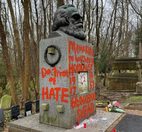karl marx tomb vandalised at Highgate Cemetery in north London