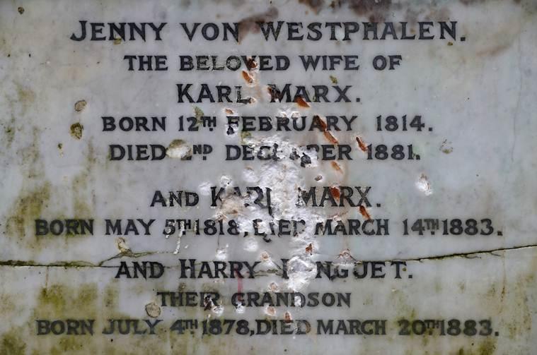 karl marx tomb vandalised at Highgate Cemetery in north London