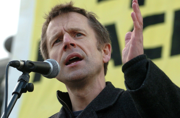 Jeremy hardy comedian addresses a CND march in Trafalgar Square