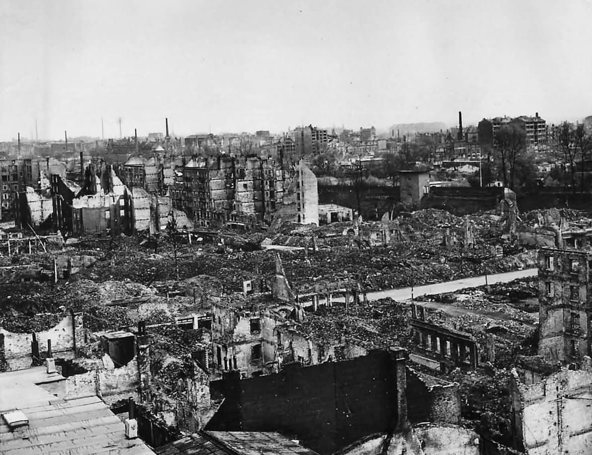 Aerial view of the bomb shattered ruins of Hamburg 1945