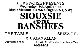 Music Machine camden town london 19/04/78 Advertisement siouxsie and the banshees