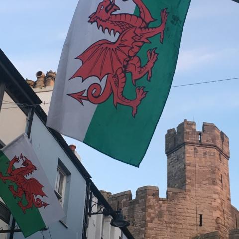 Caernarfon Carnarvon Wales castle flag