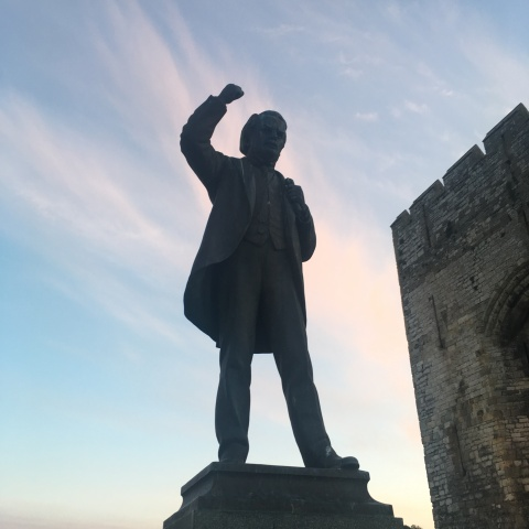 Caernarfon Carnarvon Wales statue Lloyd George
