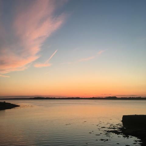 Caernarfon Carnarvon Wales Menai Strait sunset