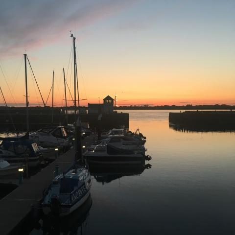 Caernarfon Carnarvon Harbour Wales sunset