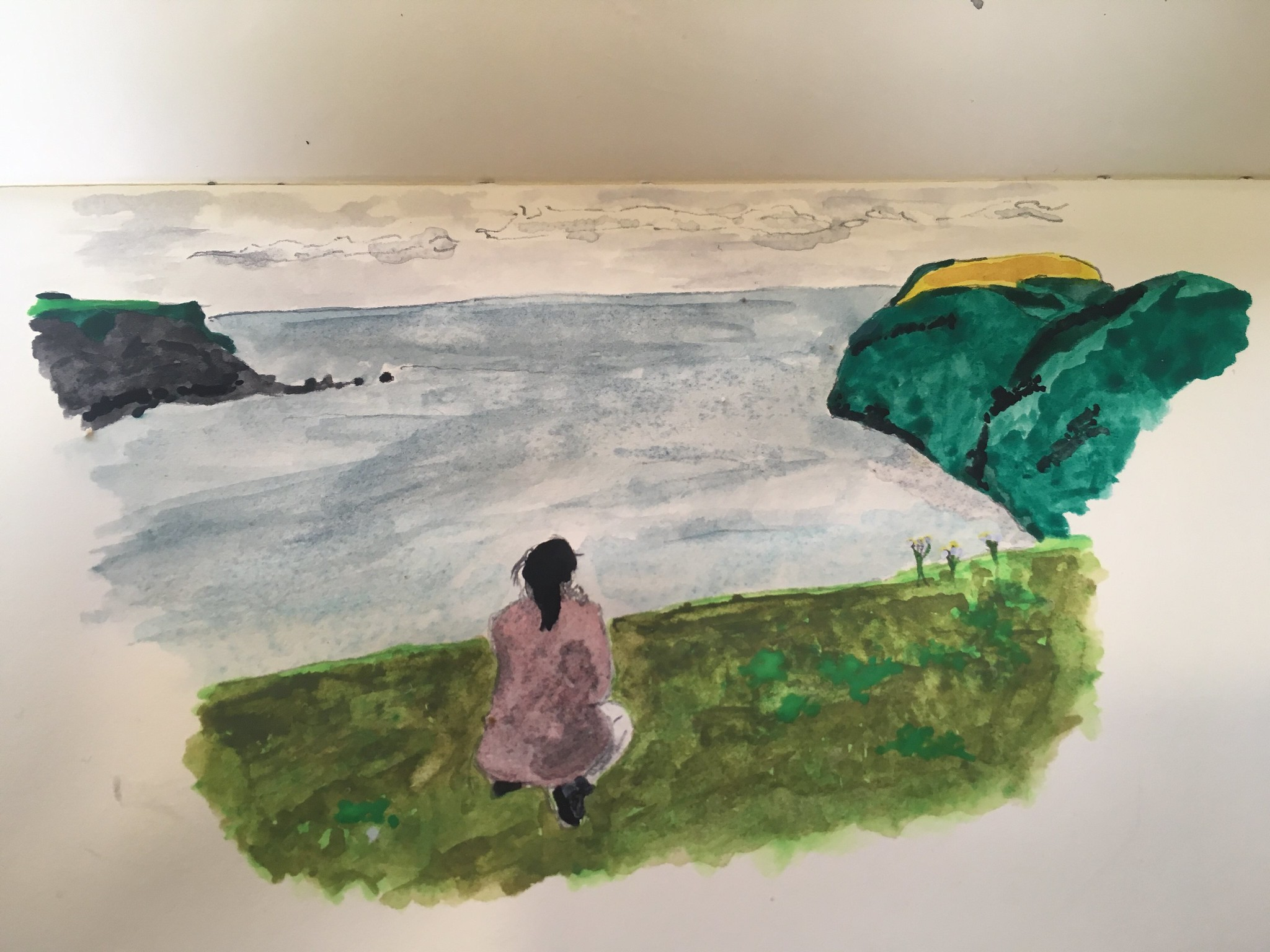 water colour sketch by adam gee malin beg donegal