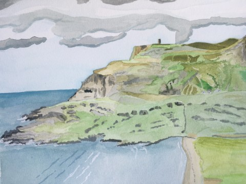 Glen Head Glencolmcille watercolour painting by adam gee