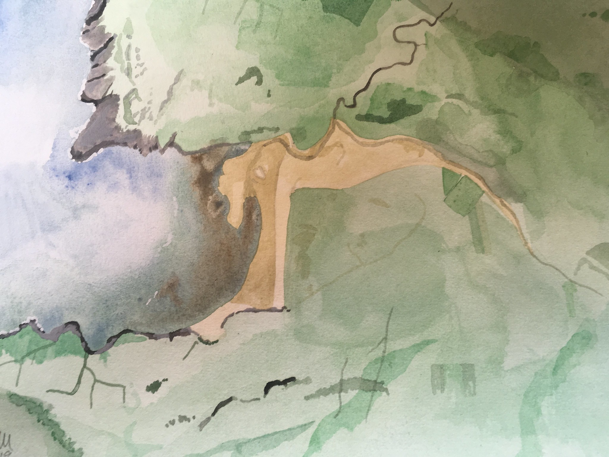 watercolour painting of glencolmcille by adam gee