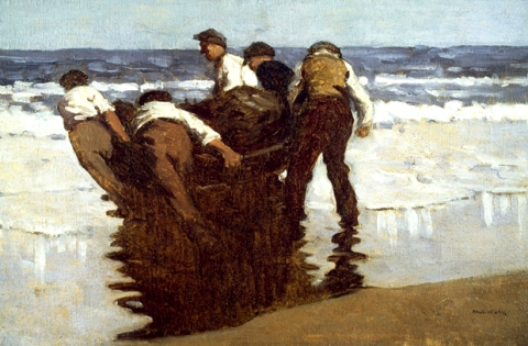 Paul Henry 'Launching the Currach'painting (c.1910)