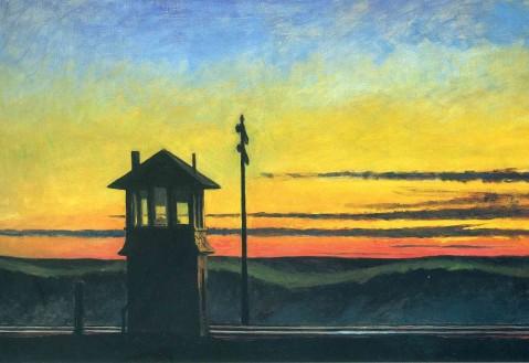 railroad-sunset edward hopper 1929 painting