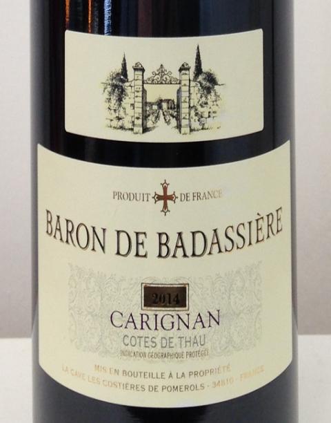 baron Badassiere-Carigan-Label wine