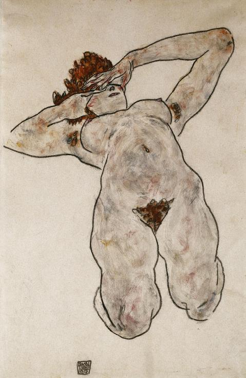 Liegende Nackte. Egon Schiele (1890-1918). Gouache and charcoal on paper. Dated 1917