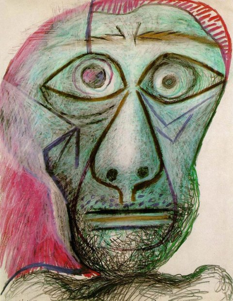 pablo-picasso-self-portrait 90 years old June 30 1972