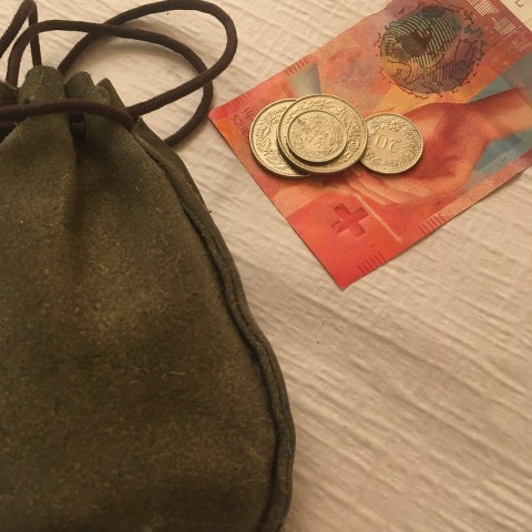 purse with swiss francs