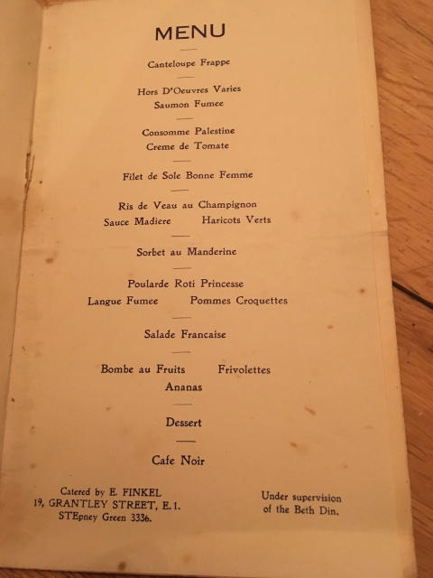 menu murrays club soho 1938