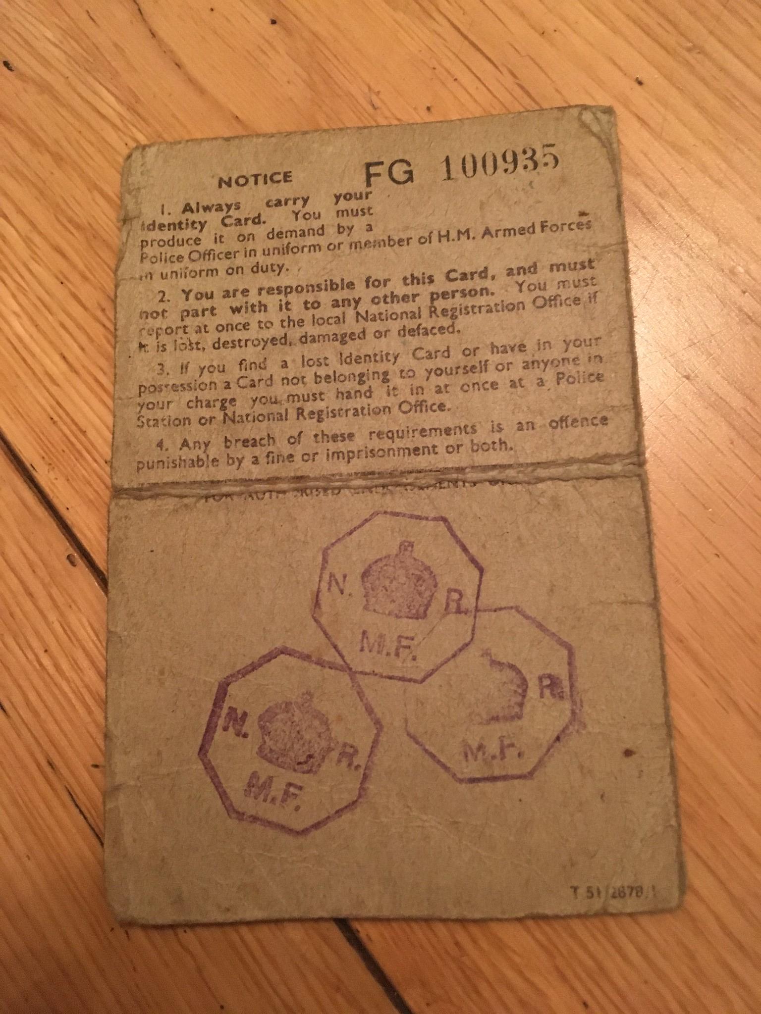 identity card 1943 britain