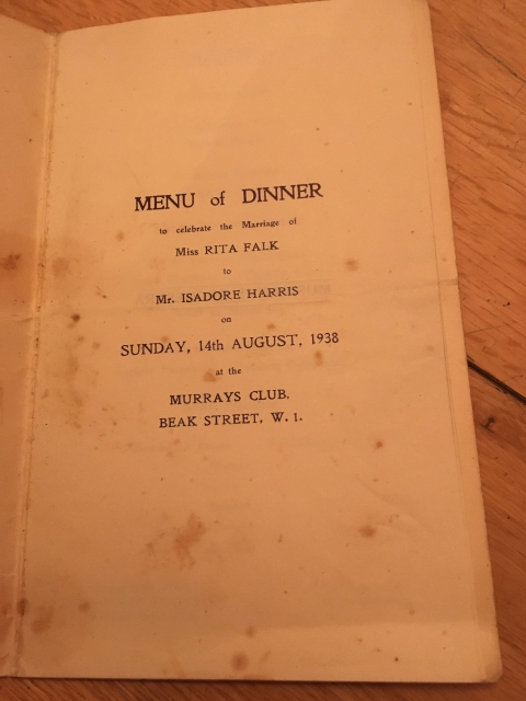wedding party menu murrays soho london 1938