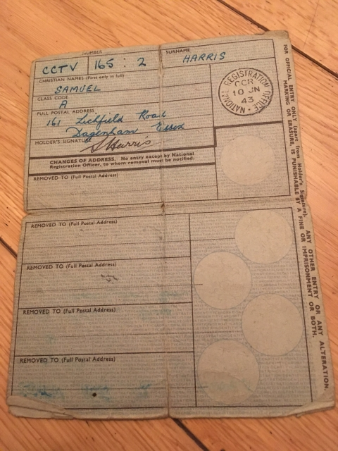 national registration identity card britain 1943