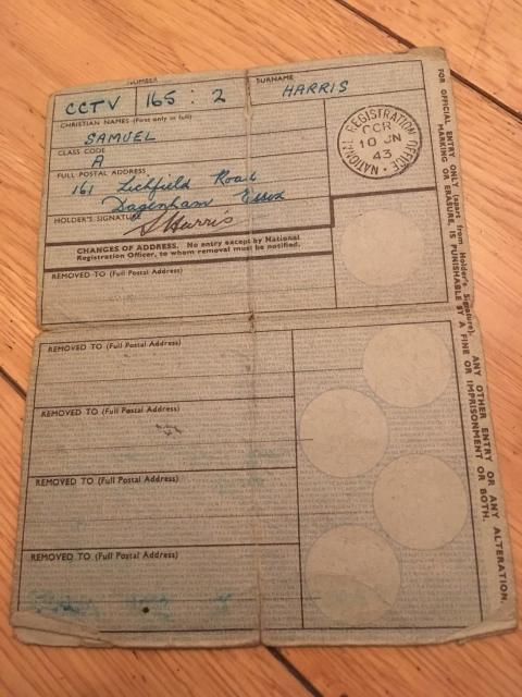 national registration identity card britain 1943