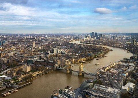 london aerial view river thames