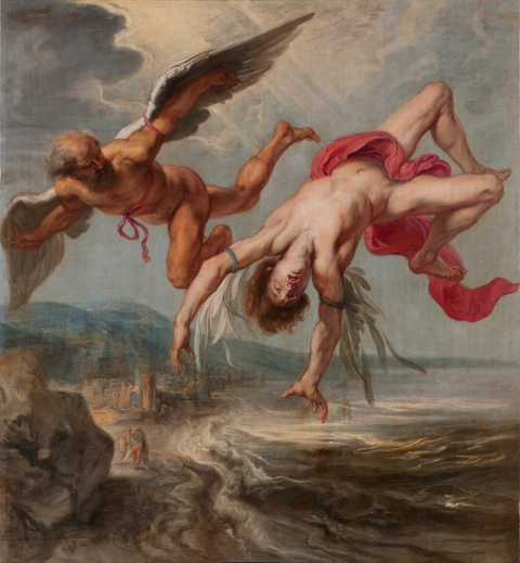Icarus flew too near the sun and melted the wax of his wings :: Jacob Peter Gowy's The Flight of Icarus (1635–37)