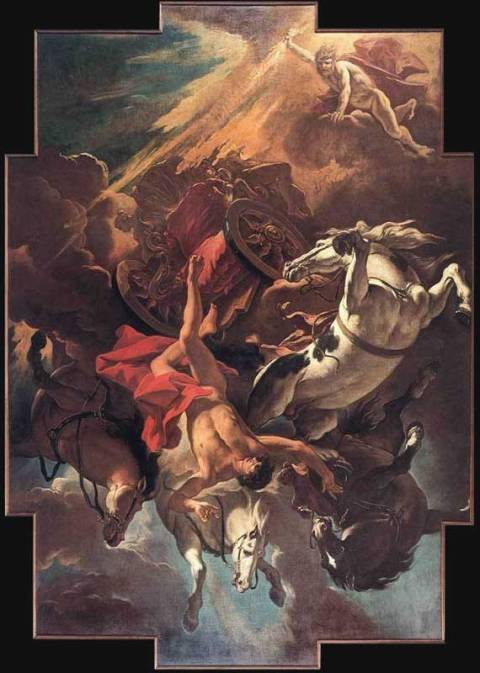 Phaethon couldn't control the horses of the sun god, his father Helios :: The Fall of Phaethon by Sebastiano Ricci [b. 1659, Belluno - d. 1734, Venice] (1703-04) [Oil on canvas - Museo Civico, Belluno]