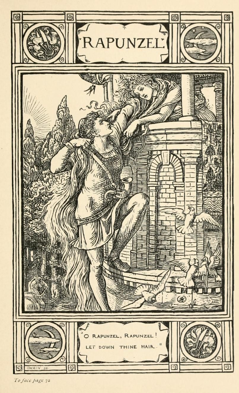 rapunzel Illustration for Household stories Brothers Grimm Jacob and Wilhelm Illustrated by Walter Crane 1920