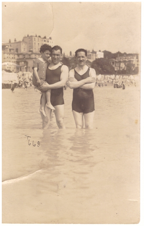 beach trio bathers england vintage photograph