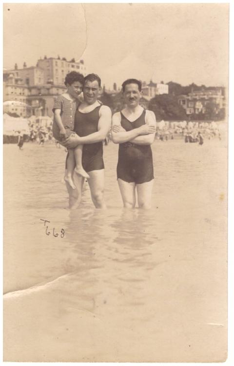 beach trio bathers england vintage photograph