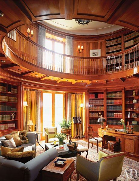 oval library with doors