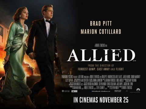 allied movie brad pitt marion cotillard poster