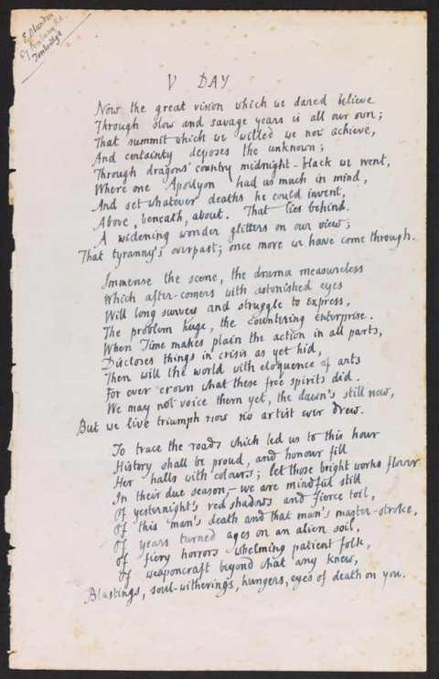 V day page 1 poem edmund blunden